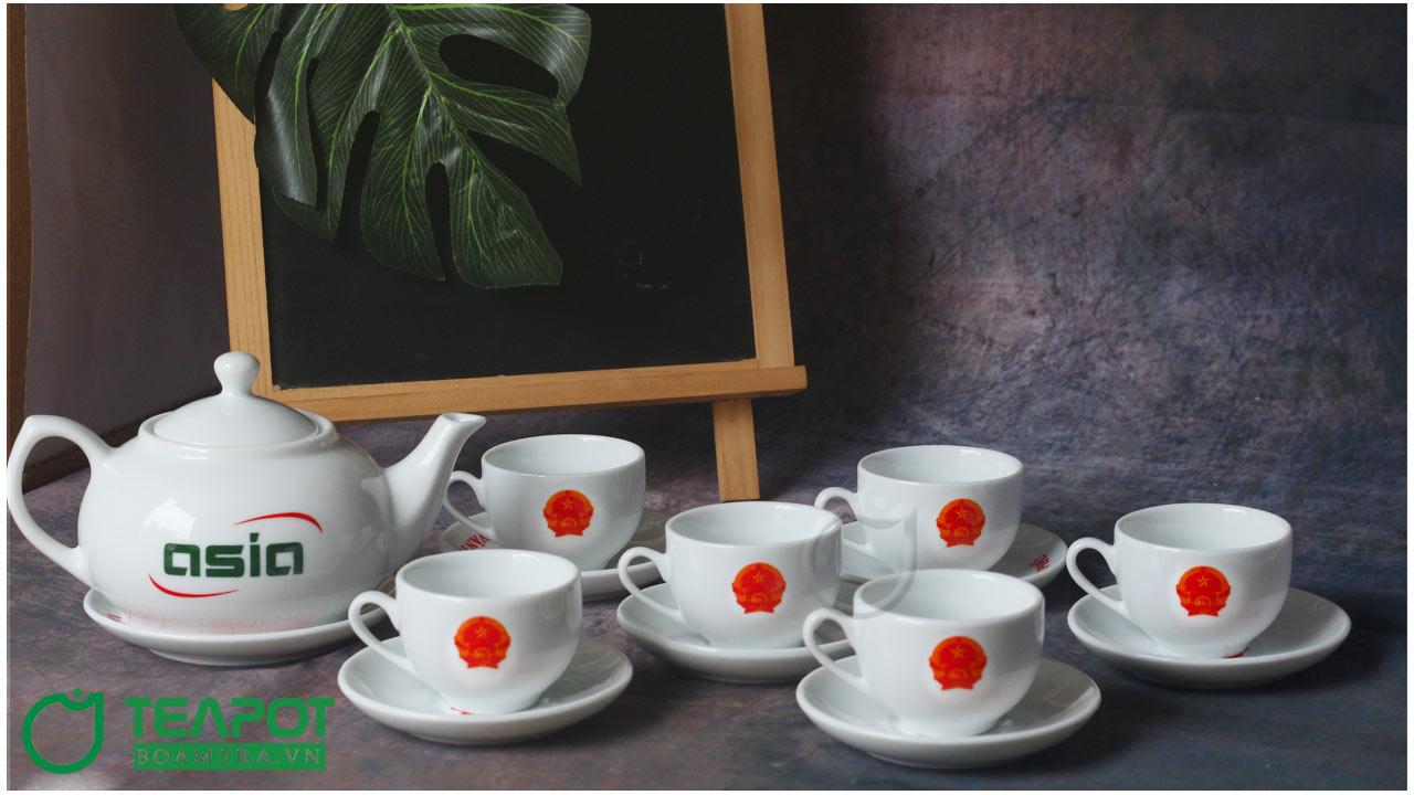 Bộ ấm trà bầu thấp in Quốc Huy - Văn Phòng Chính Phủ