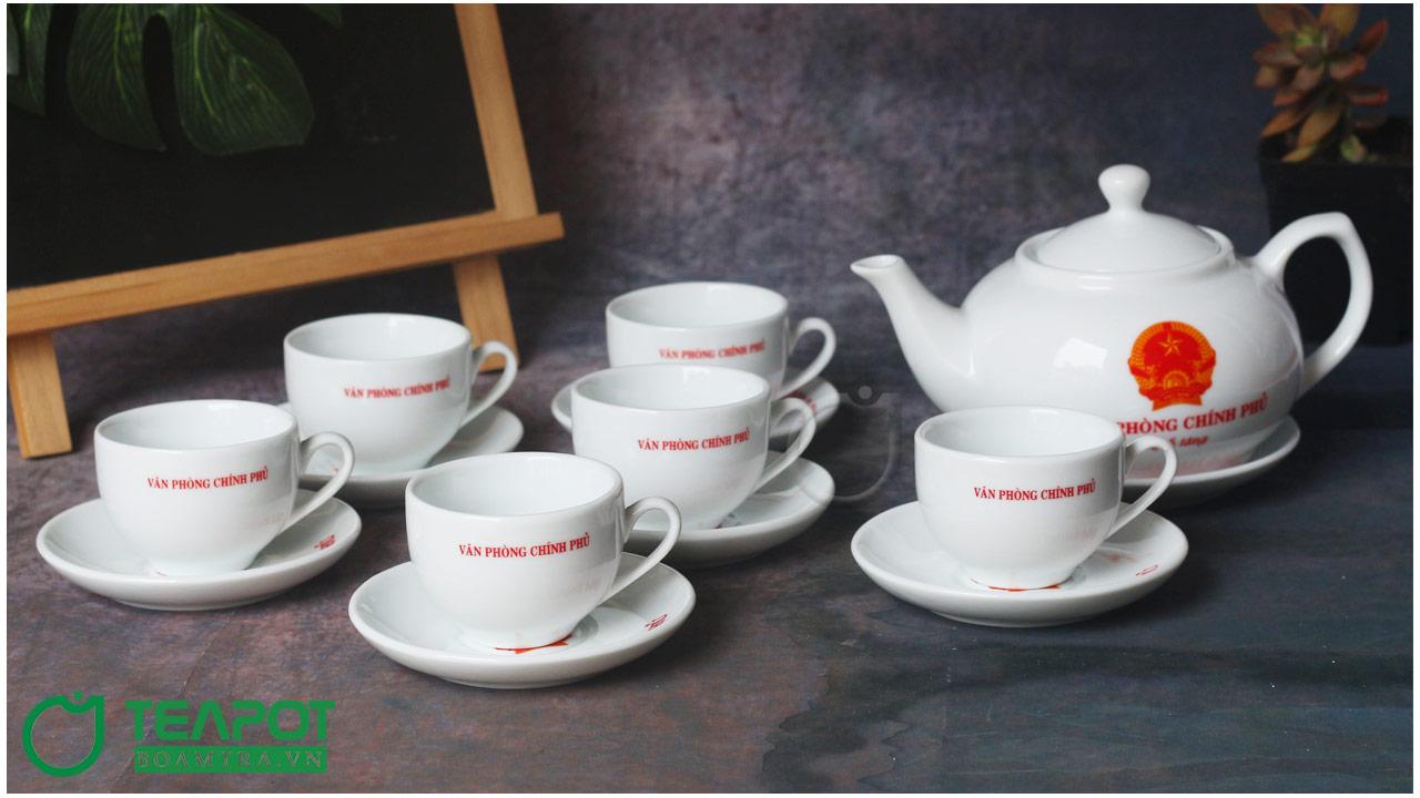 Bộ chén trà in logo Văn Phòng Chính Phủ