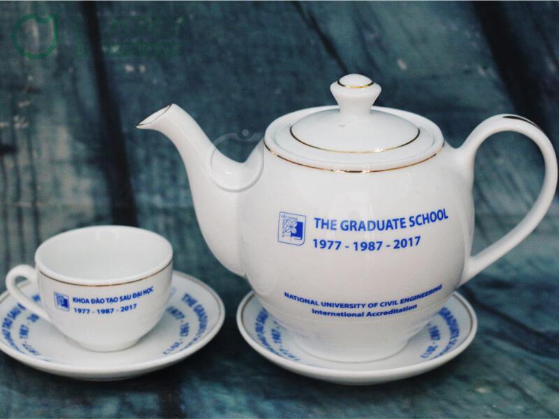 Bộ ấm trà viền ánh kim Bát Tràng