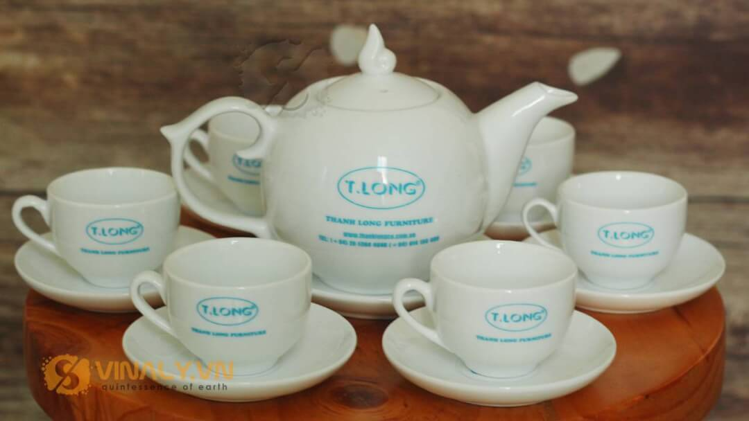 Bộ ấm trà nắp ngọn lửa in logo Thanh Long Furniture