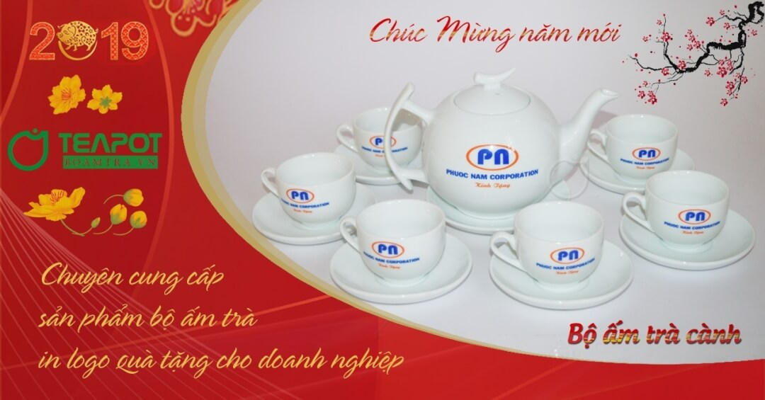 Bộ ấm trà in logo làm quà tặng doanh nghiệp