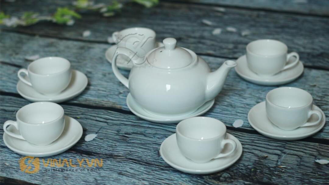 Bộ Ấm Trà Vinaly mẫu 2 - Bộ ấm trà bầu thấp Bát Tràng