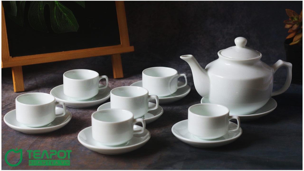 Bộ ấm trà sứ trắng mẫu 7