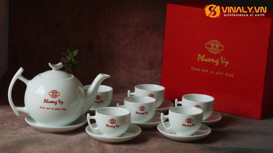 Bộ ấm trà cành in logo Phương Vy