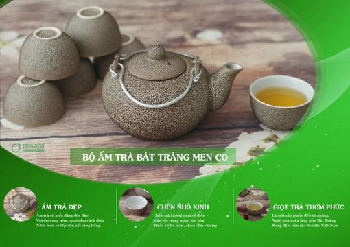 Bộ ấm trà Bát Tràng men co
